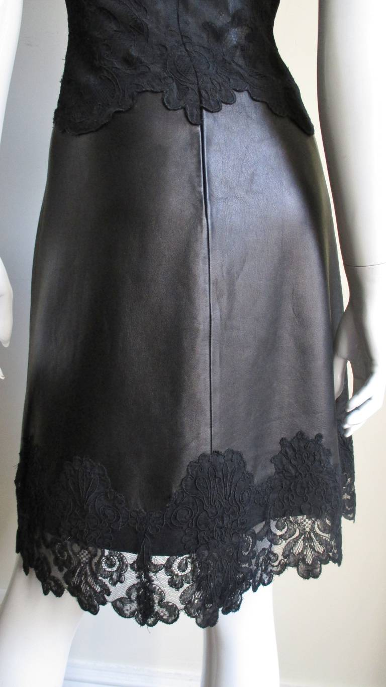 Gianni Versace Leather and Lace Dress For Sale 8