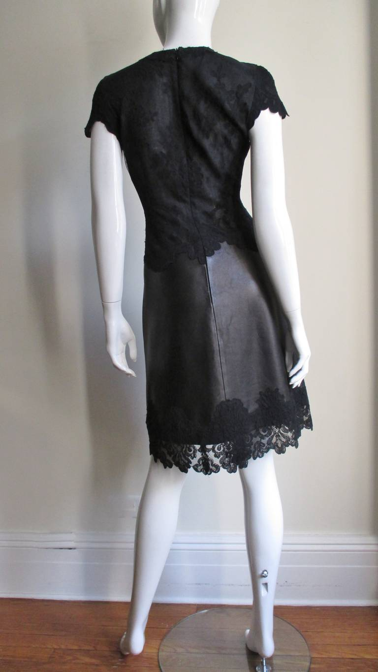 Gianni Versace Leather and Lace Dress For Sale 9