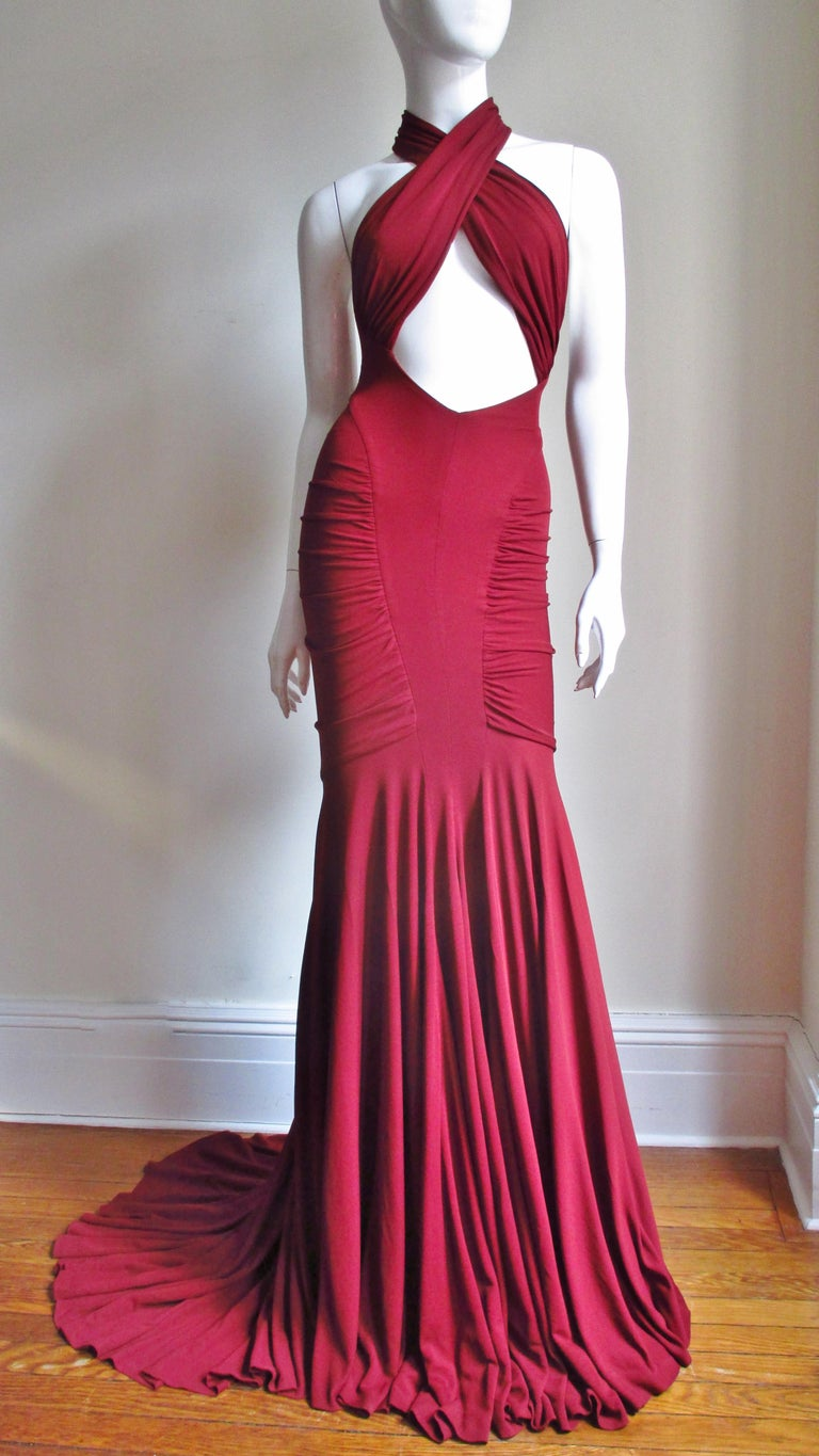 2004 Herve Leger for Guy Laroche Bodycon Cutout Gown For Sale at 1stdibs