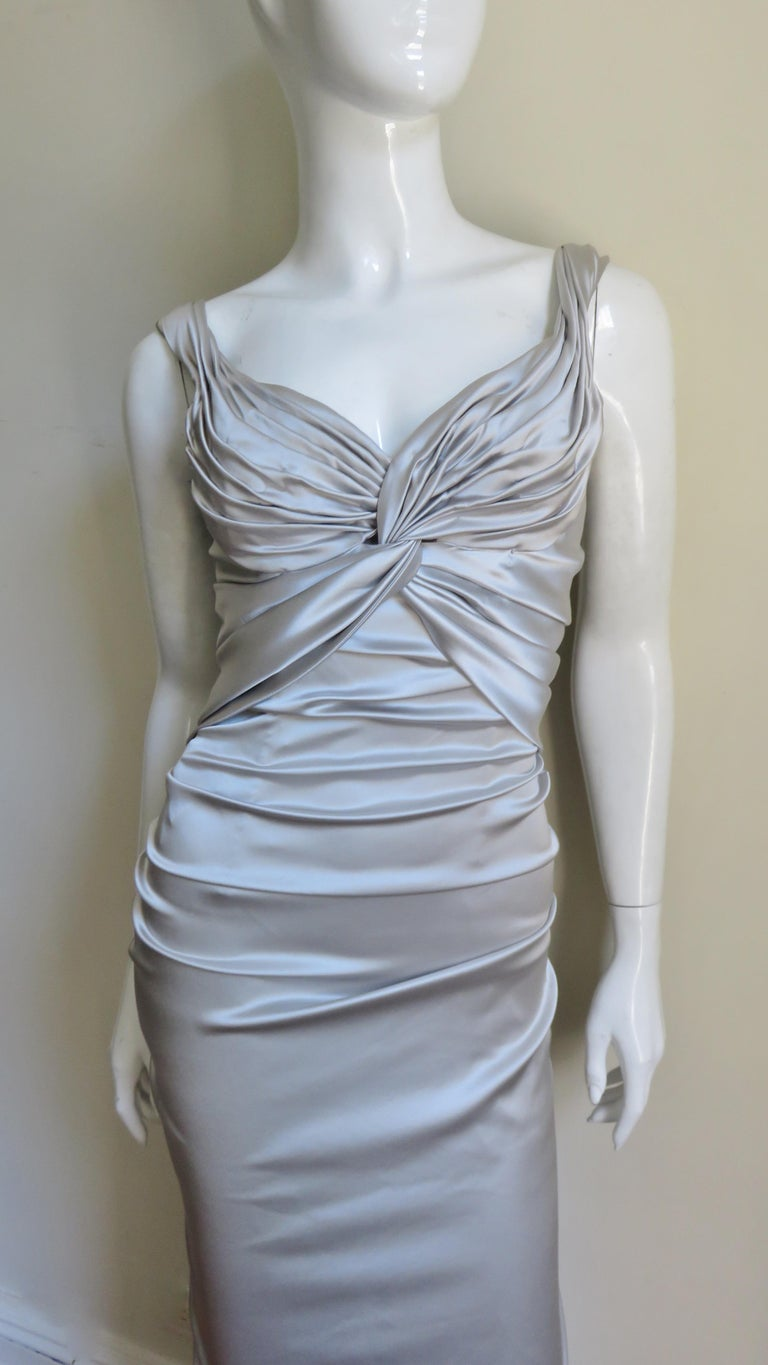 Dolce & Gabbana Silk Ruched Gown In Excellent Condition For Sale In New York, NY