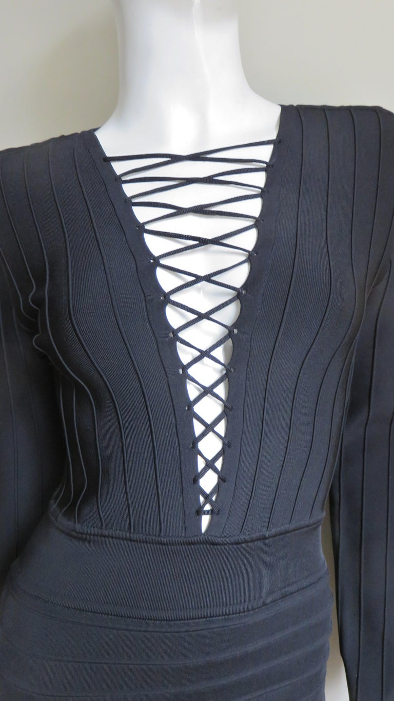Women's Pierre Balmain Lace Up Bandage Dress For Sale