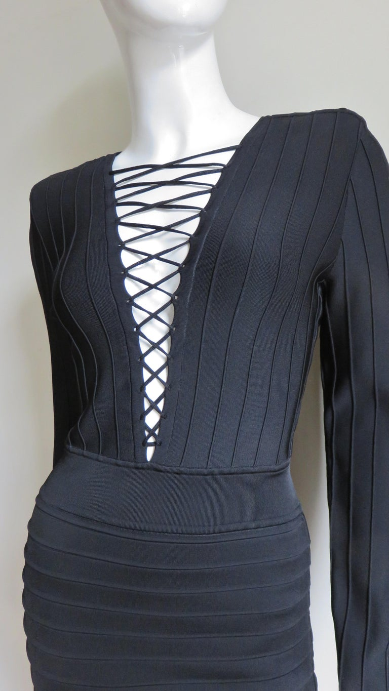 Pierre Balmain Lace Up Bandage Dress In Excellent Condition For Sale In New York, NY