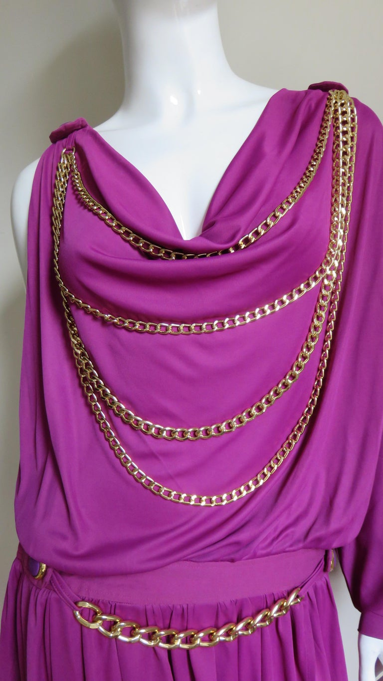 Dolce & Gabbana New One Sleeve Dress with Chains In Excellent Condition For Sale In Watermill, NY