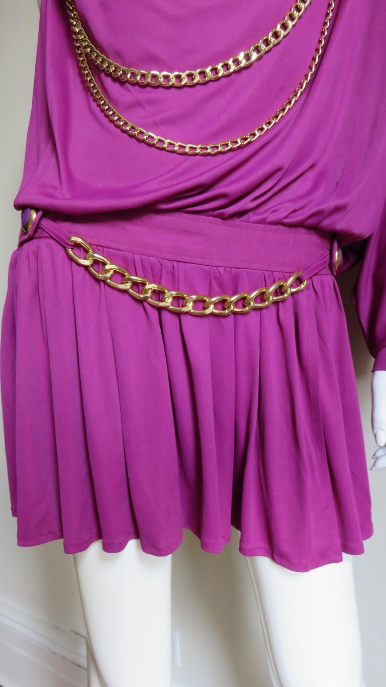 Purple Dolce & Gabbana New One Sleeve Dress with Chains For Sale
