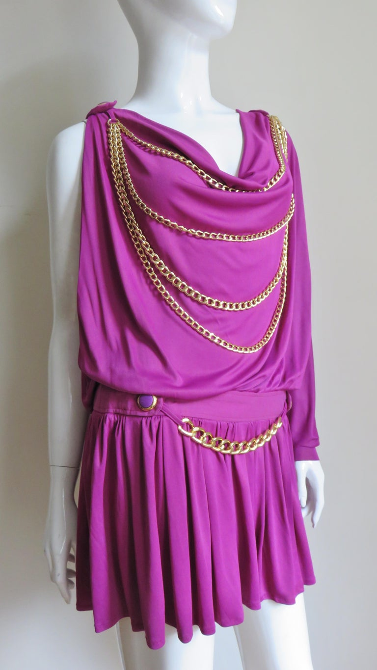 Women's Dolce & Gabbana New One Sleeve Dress with Chains For Sale