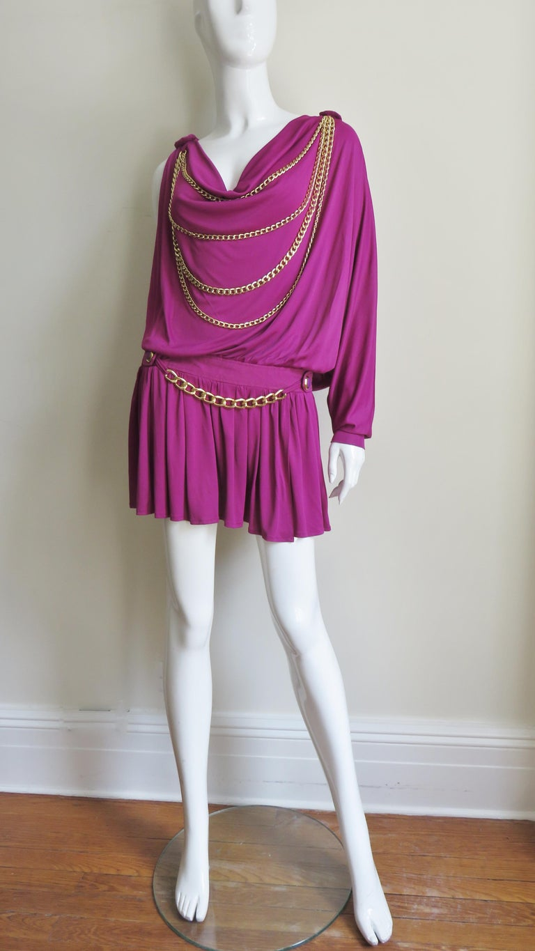 Dolce & Gabbana New One Sleeve Dress with Chains For Sale 1
