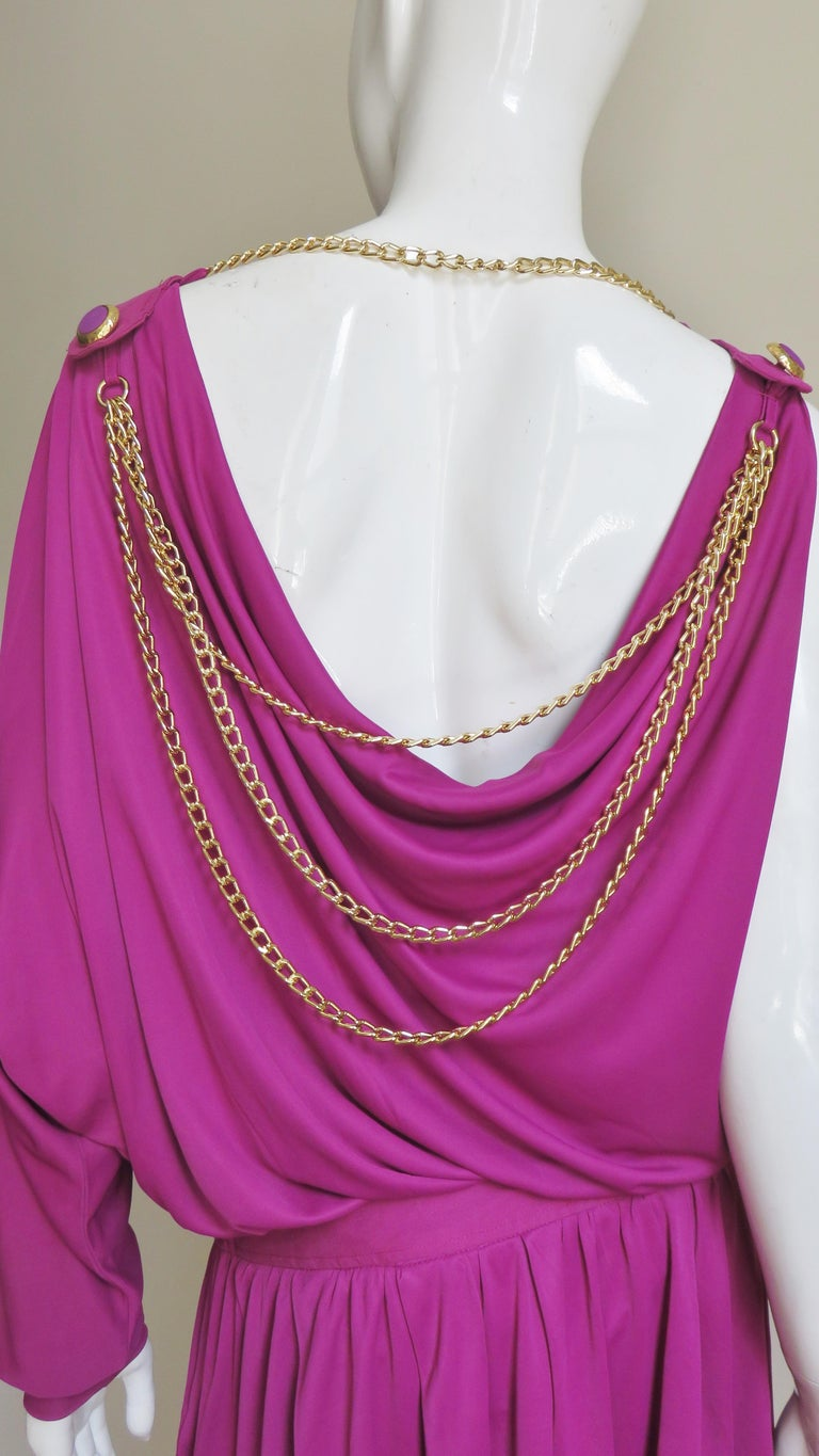 Dolce & Gabbana New One Sleeve Dress with Chains For Sale 5