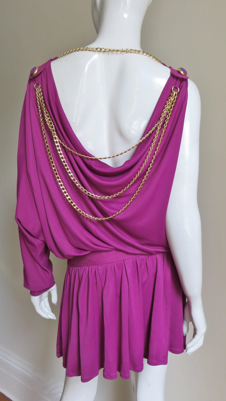 Dolce & Gabbana New One Sleeve Dress with Chains For Sale 3
