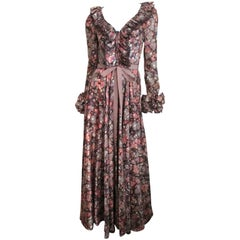 1970s Jean Varon Maxi Dress with Ruffles
