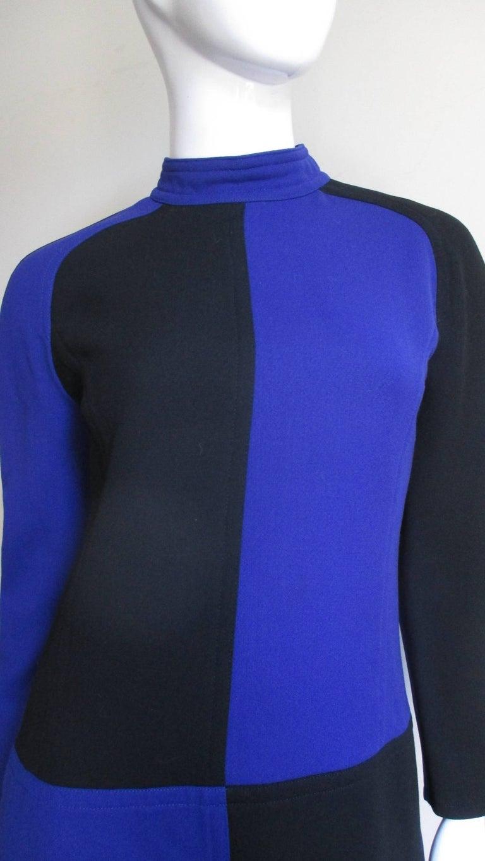 Blue 1970s Courreges Color Block Dress For Sale