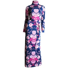 1970's La Mendola Maxi Dress and Silk Over Skirt