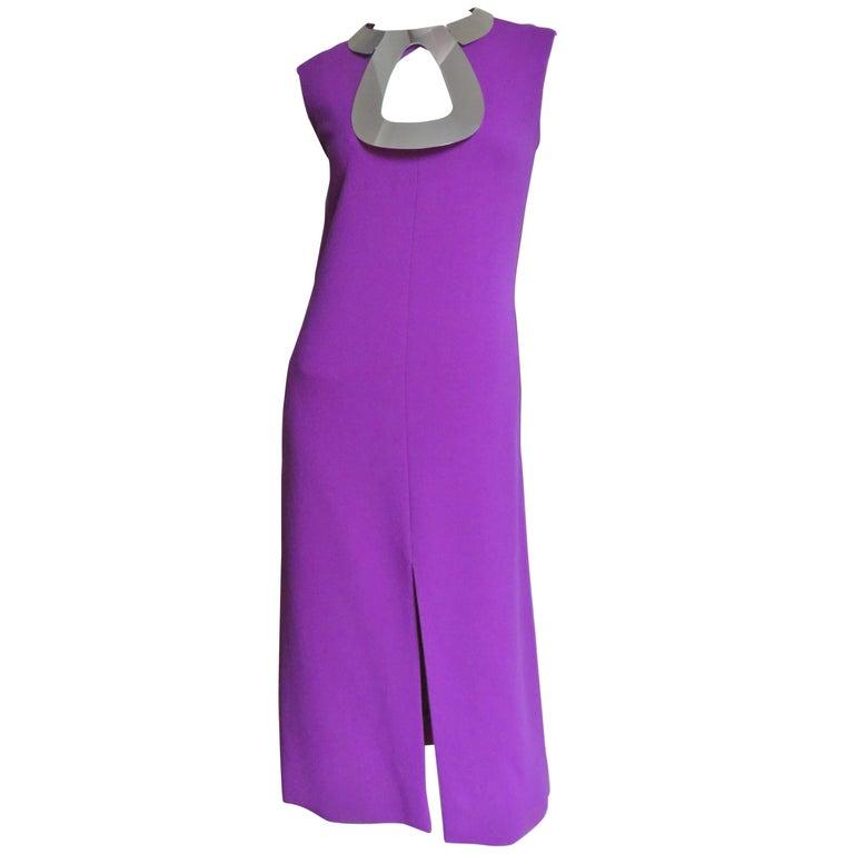 1960s Pierre Cardin Iconic Metal Hardware Collar Dress