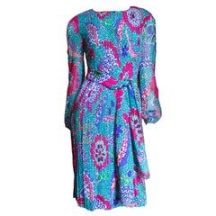 1960s Pierre Cardin Mod Silk Dress