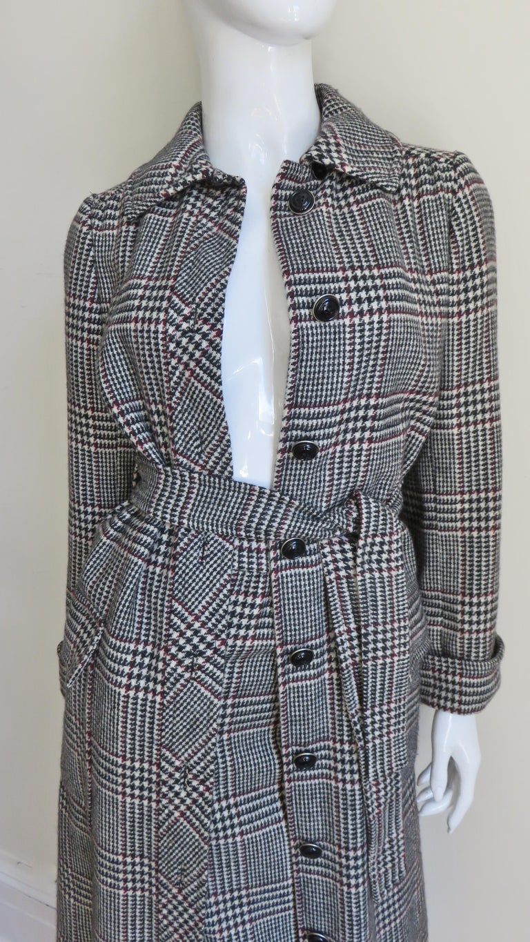 Gray 1970s Adele Simpson Wrap Coat and Matching Skirt For Sale