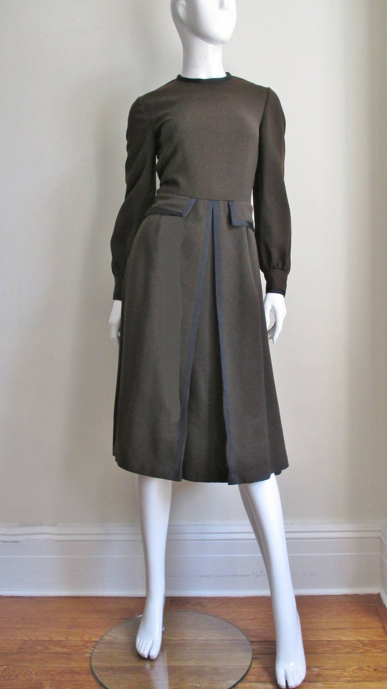 Geoffrey Beene 1970s Brown with Black Trim Dress For Sale 1