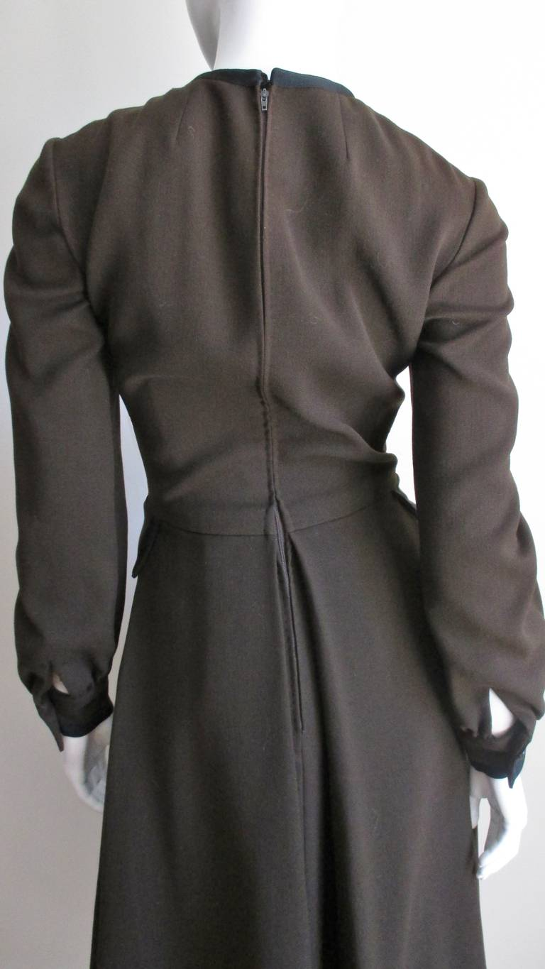 Geoffrey Beene 1970s Brown with Black Trim Dress For Sale 7