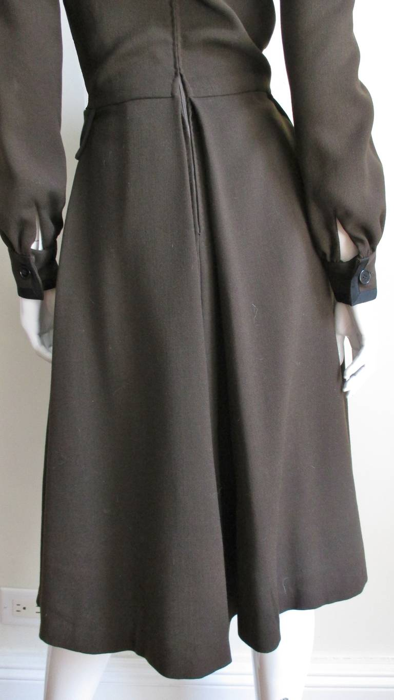 Geoffrey Beene 1970s Brown with Black Trim Dress For Sale 8
