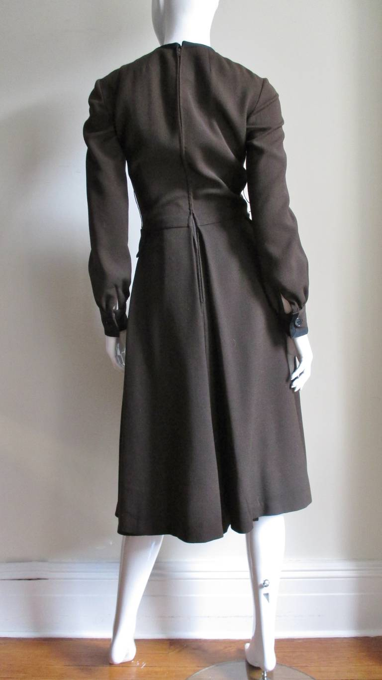 Geoffrey Beene 1970s Brown with Black Trim Dress For Sale 9