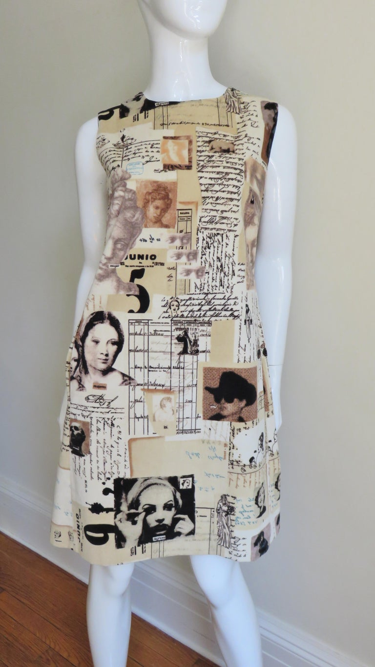 A velvet dress by Moschino with a bevy of patterns, prints and photos in shades of beige, brown, and black.  The print is amazingly detailed with photo prints of silent screen stars, works of art, writings, brides, nuns, numbers etc..  It is a