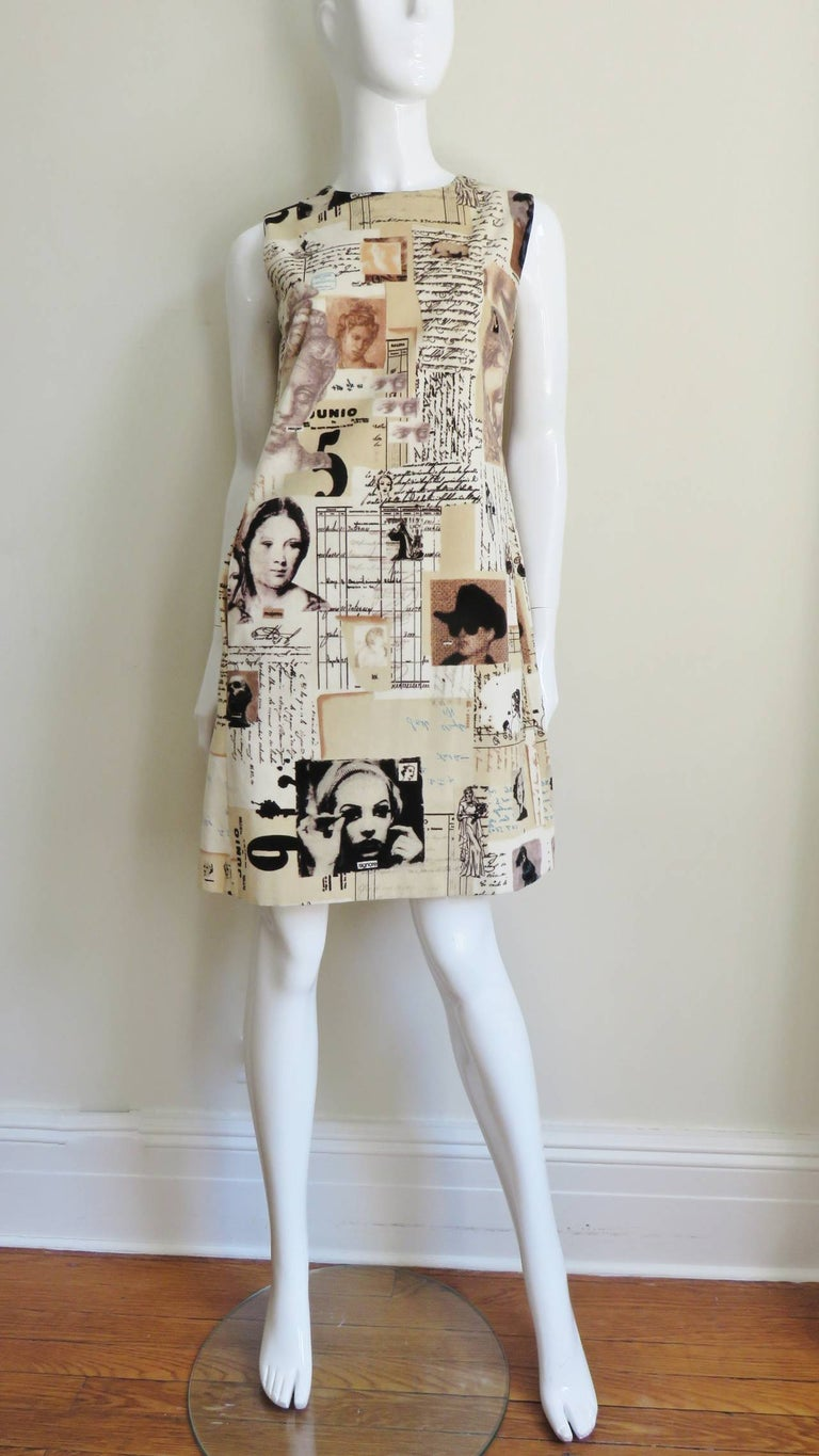 1990s Moschino Screen Stars Print Dress For Sale 2