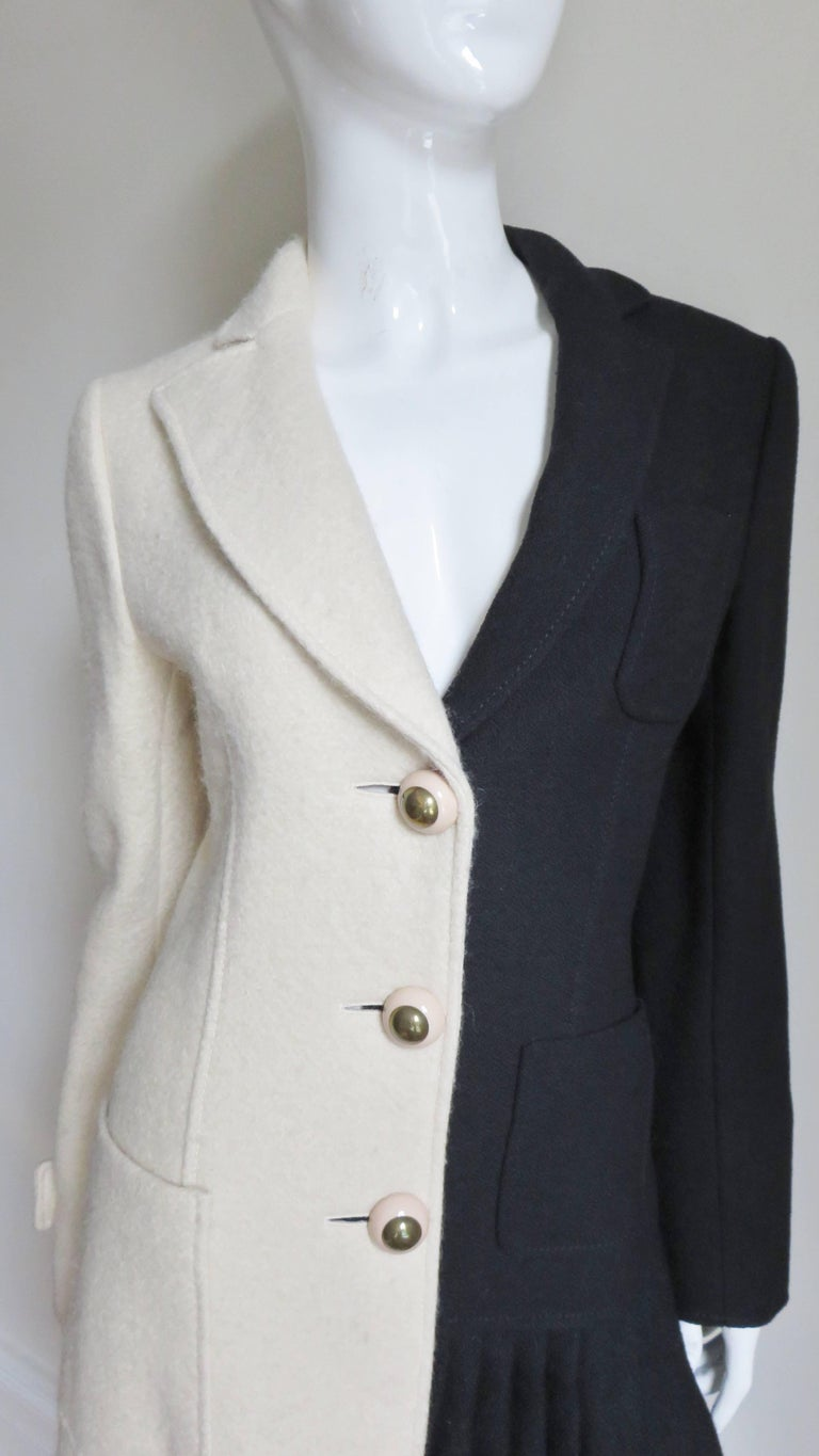 Black Moschino Color Block Coat For Sale