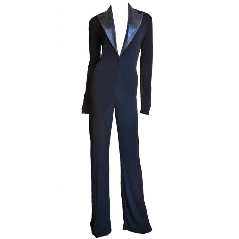 1990s Jean Paul Gaultier Leather Collar Plunge Jersey Jumpsuit