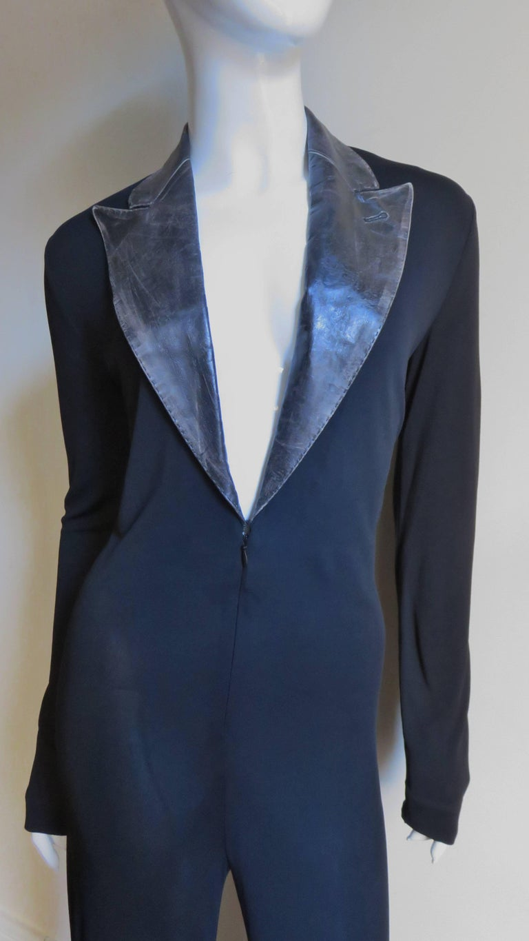 Jean Paul Gaultier Leather Collar Plunge Jersey Jumpsuit  In Good Condition For Sale In New York, NY