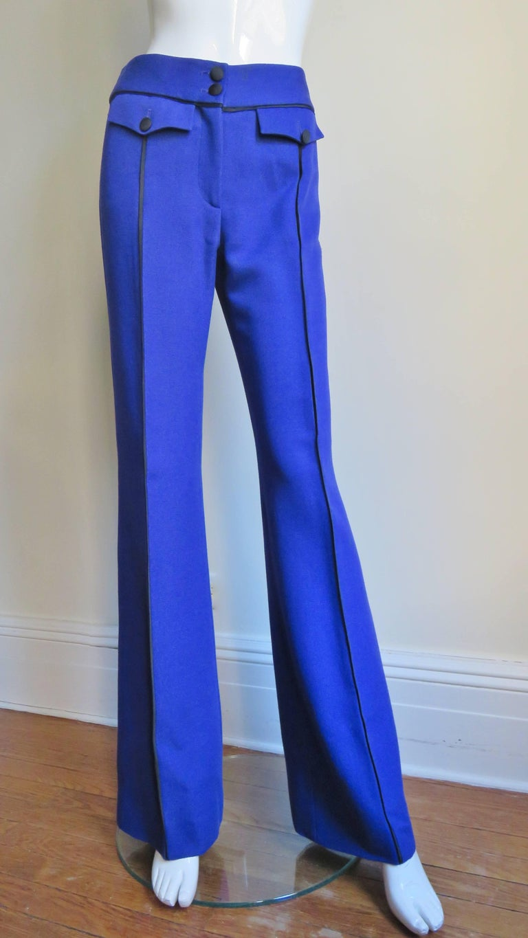 Moschino Pant Suit with Embroidered Eyes in Back For Sale 1
