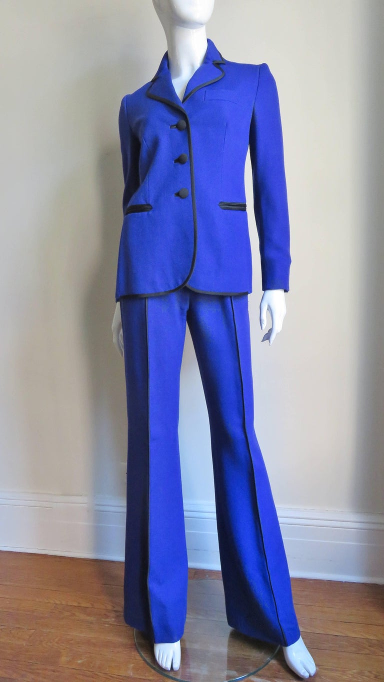Moschino Pant Suit with Embroidered Eyes in Back For Sale 3