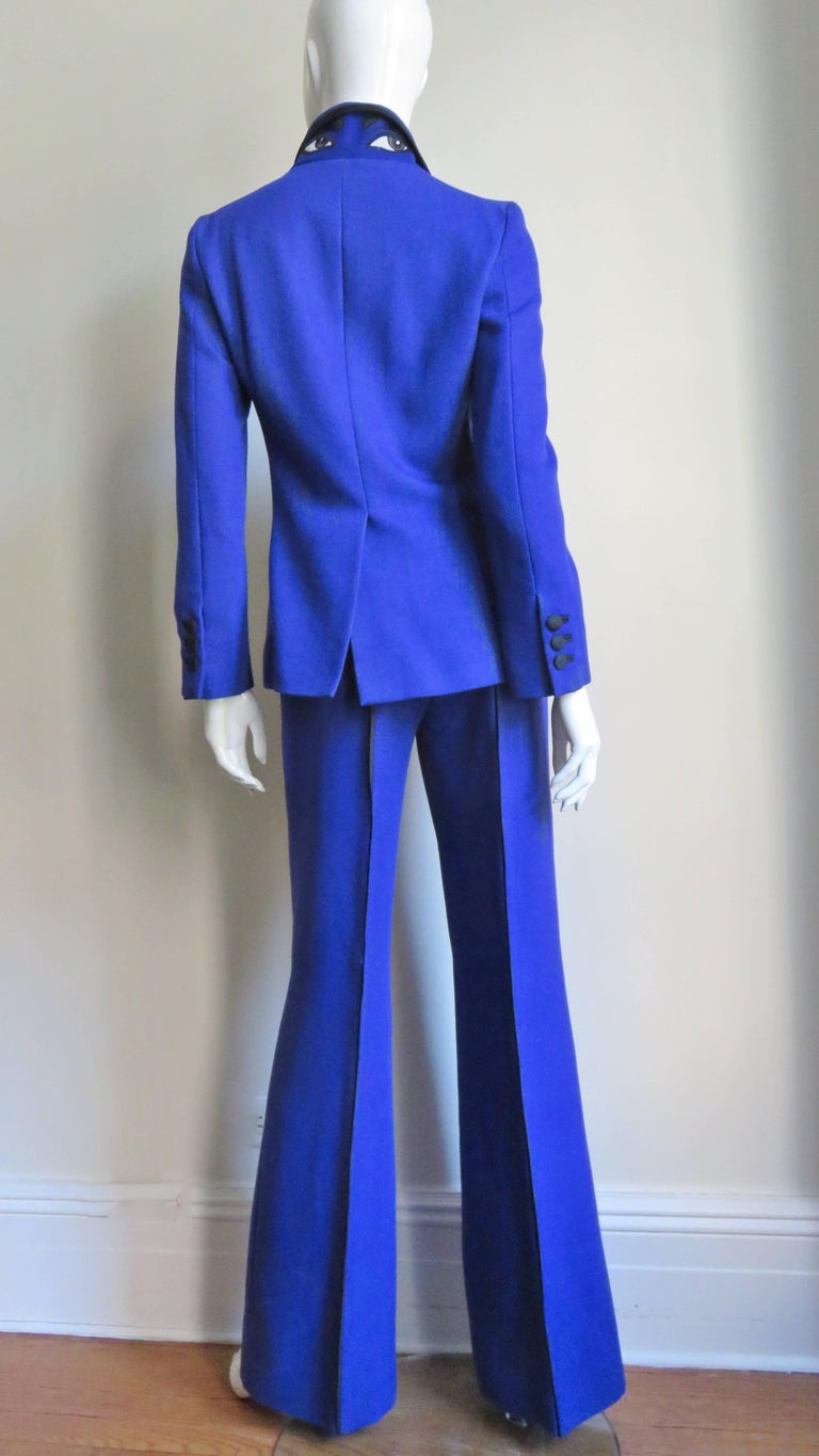 Moschino Pant Suit with Embroidered Eyes in Back For Sale 6