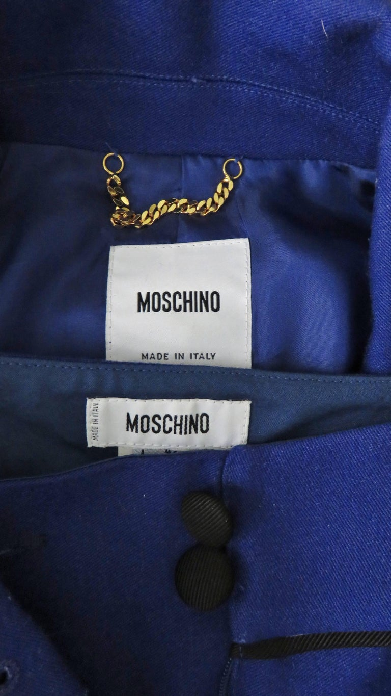Moschino Pant Suit with Embroidered Eyes in Back For Sale 7