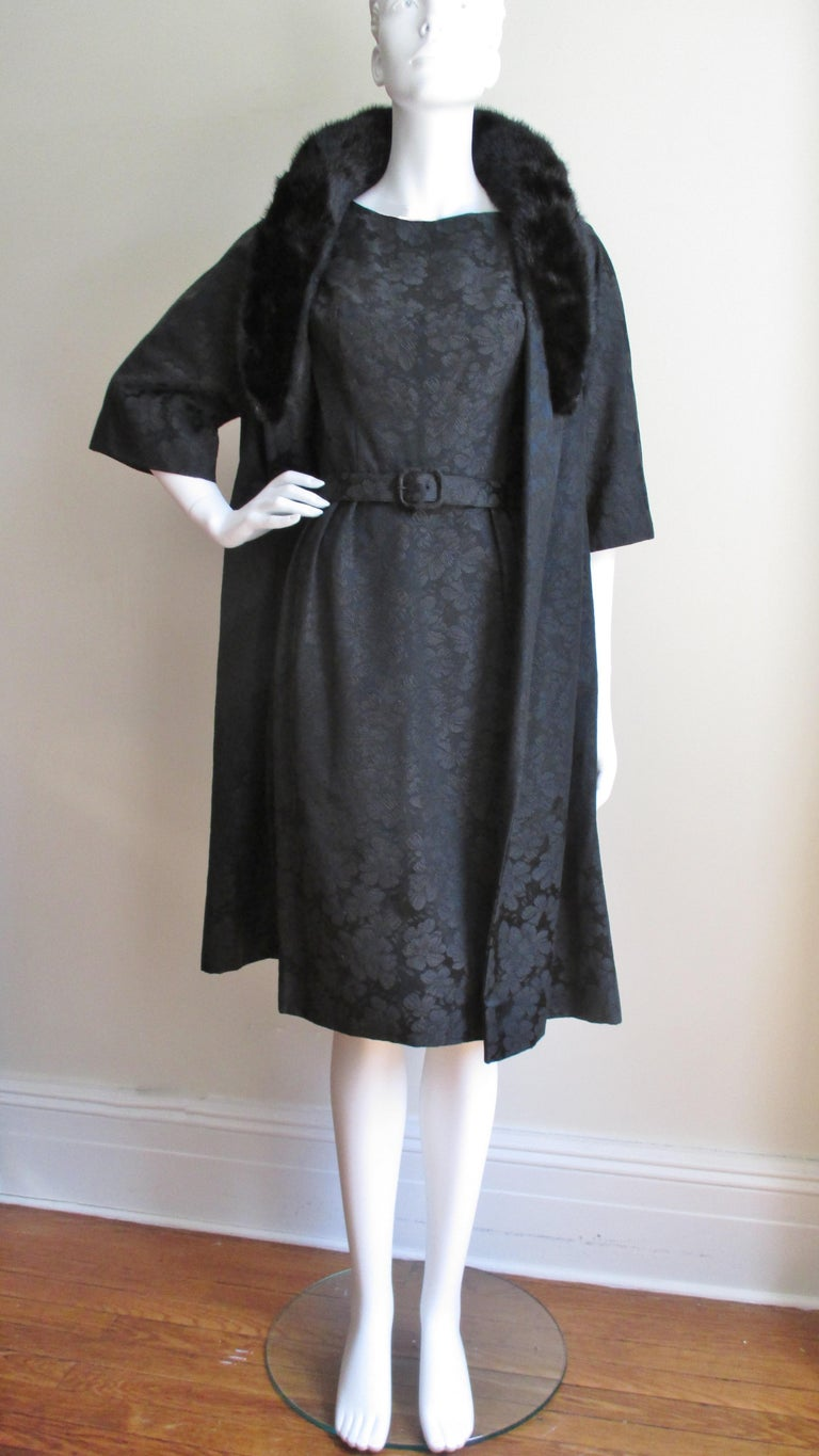 1950s Lillie Rubin New Silk Damask Dress and Mink Collar Coat Set For Sale 3