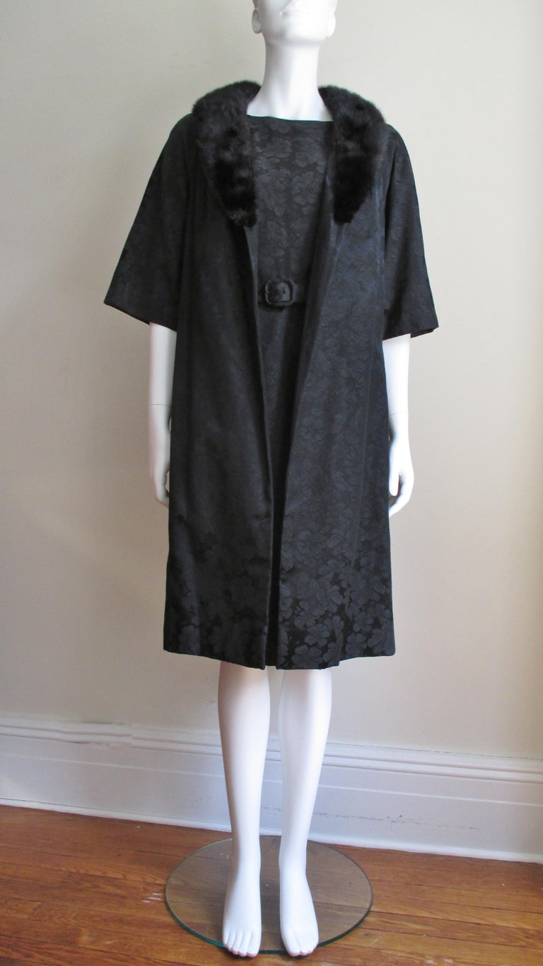 1950s Lillie Rubin New Silk Damask Dress and Mink Collar Coat Set For Sale 4
