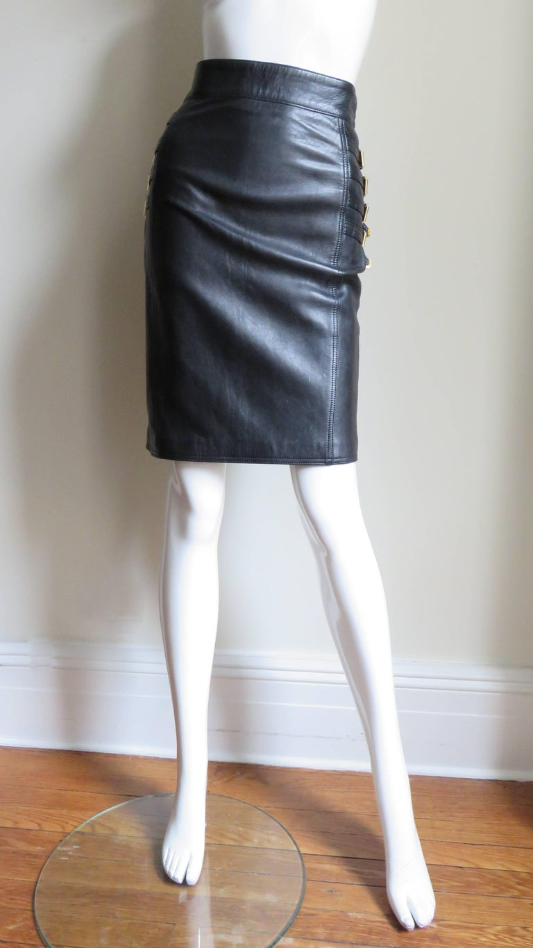 Women's Gianni Versace Leather Buckle Skirt FW 1994 For Sale