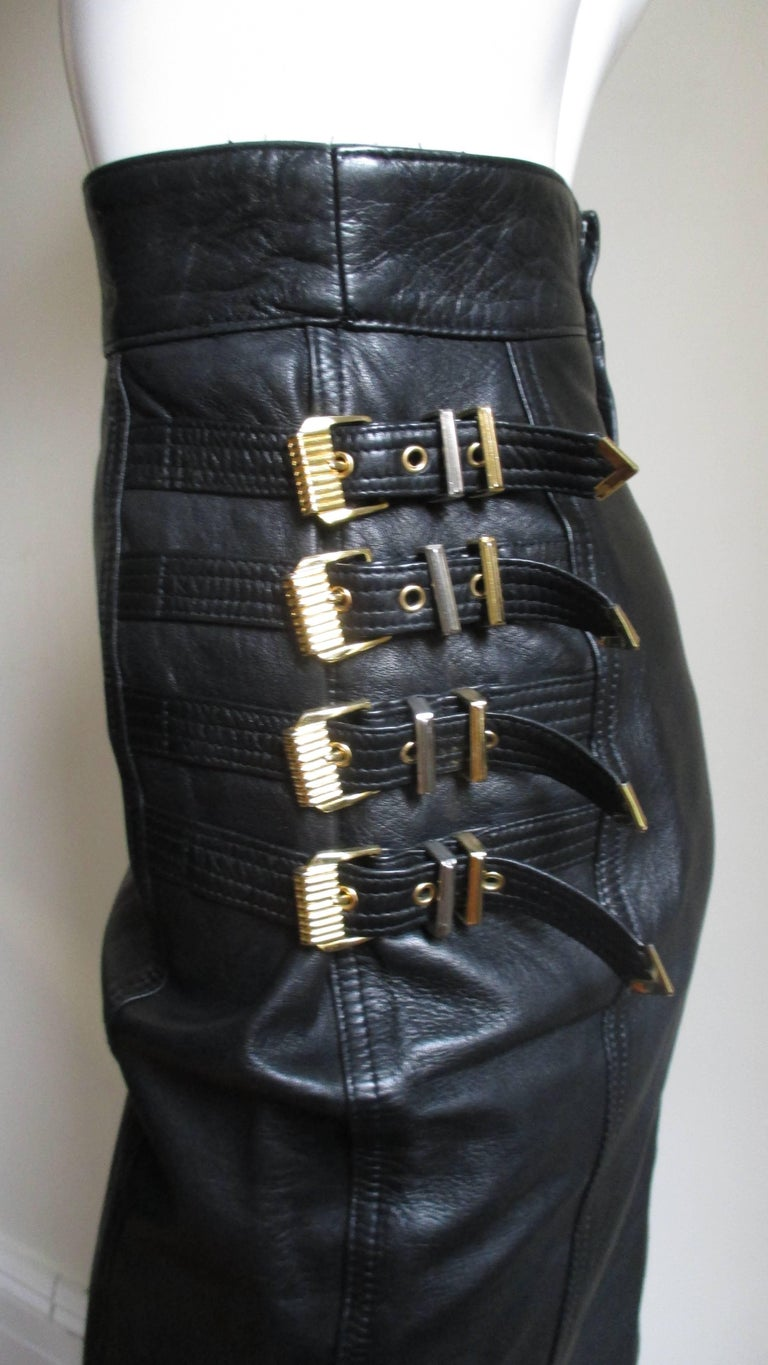 Gianni Versace Leather Buckle Skirt FW 1994 For Sale 2