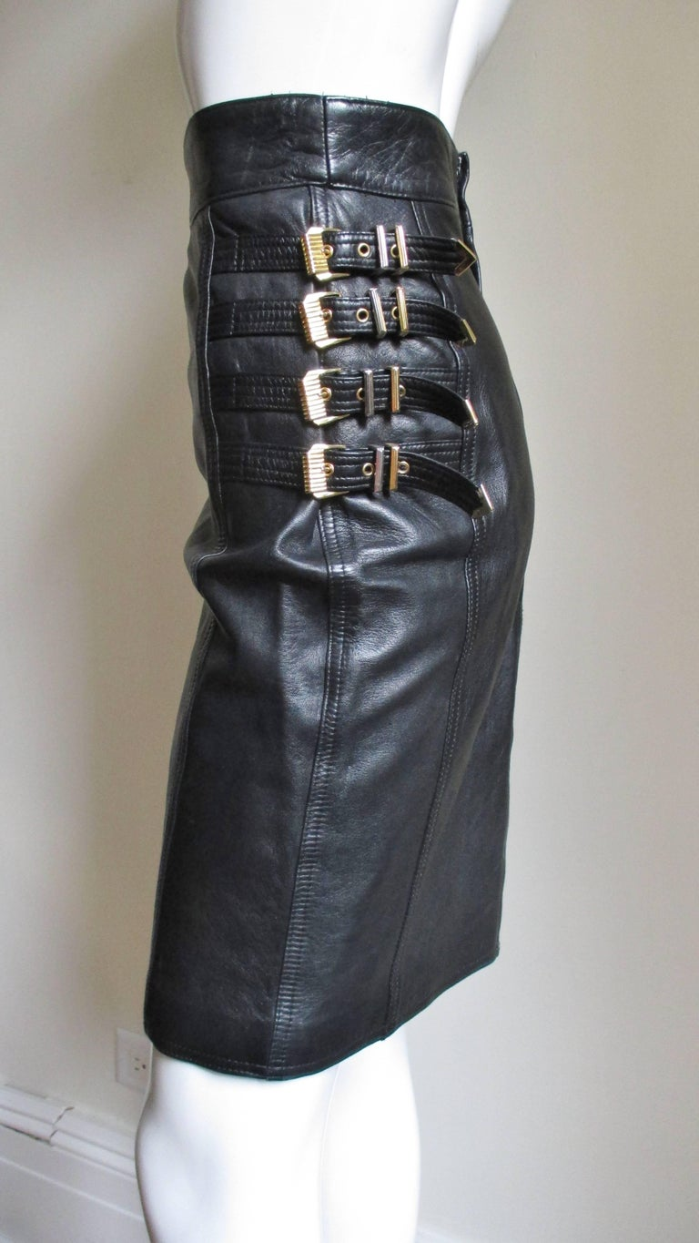 Gianni Versace Leather Buckle Skirt FW 1994 For Sale 1