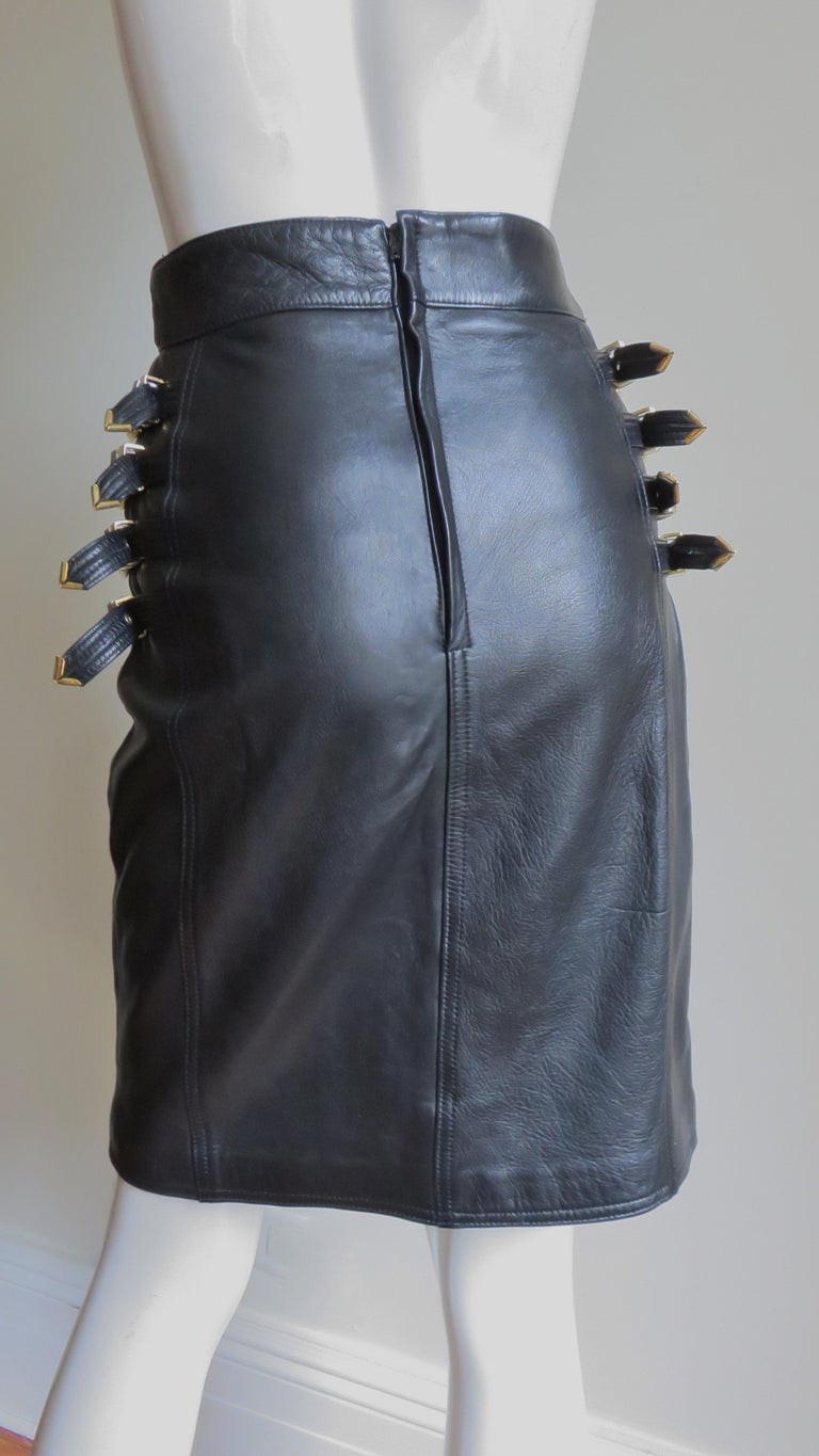 Gianni Versace Leather Buckle Skirt FW 1994 For Sale 5