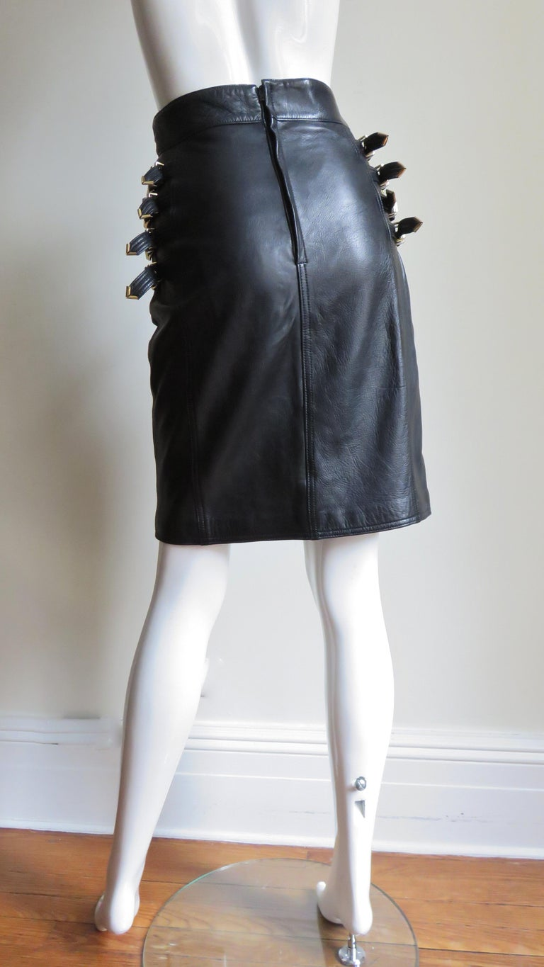 Gianni Versace Leather Buckle Skirt FW 1994 For Sale 6