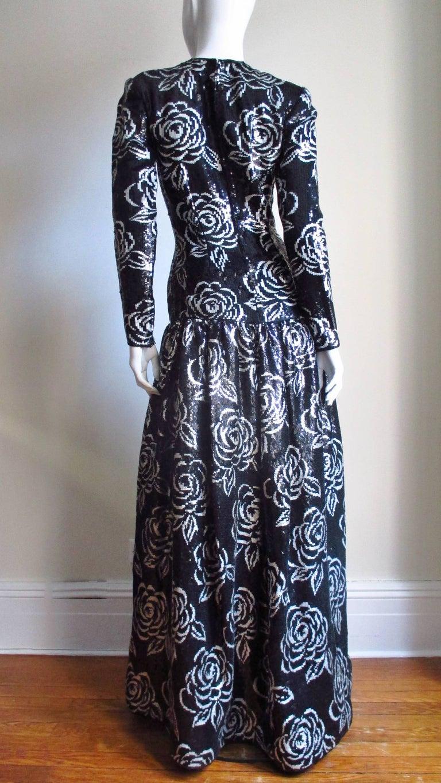 1990s Oscar de la Renta Sequin Gown For Sale 8
