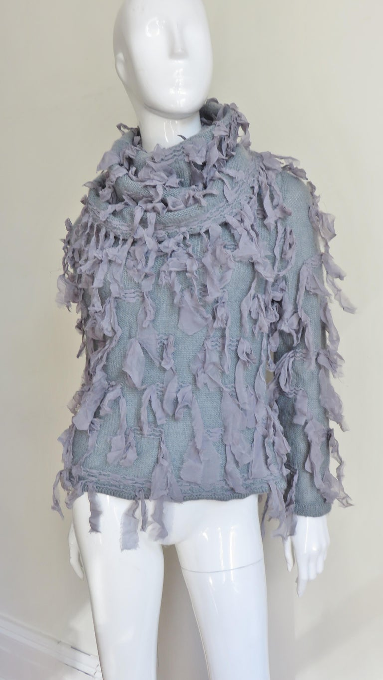 Gray Christian Dior Fringe Sweater For Sale