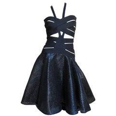 Versace Cutout Runway Bandage Dress with Full Skirt