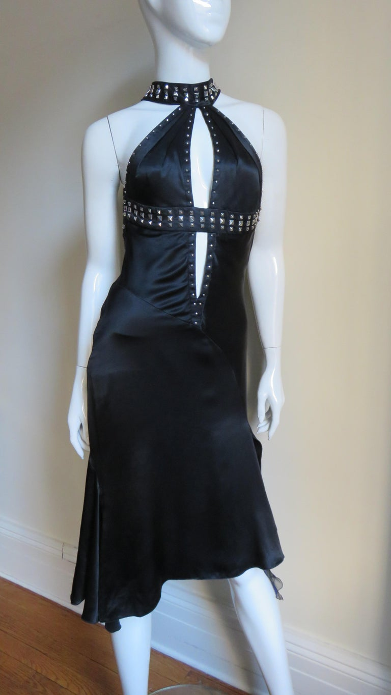 Versace Backless Silk Dress with Studs For Sale 3