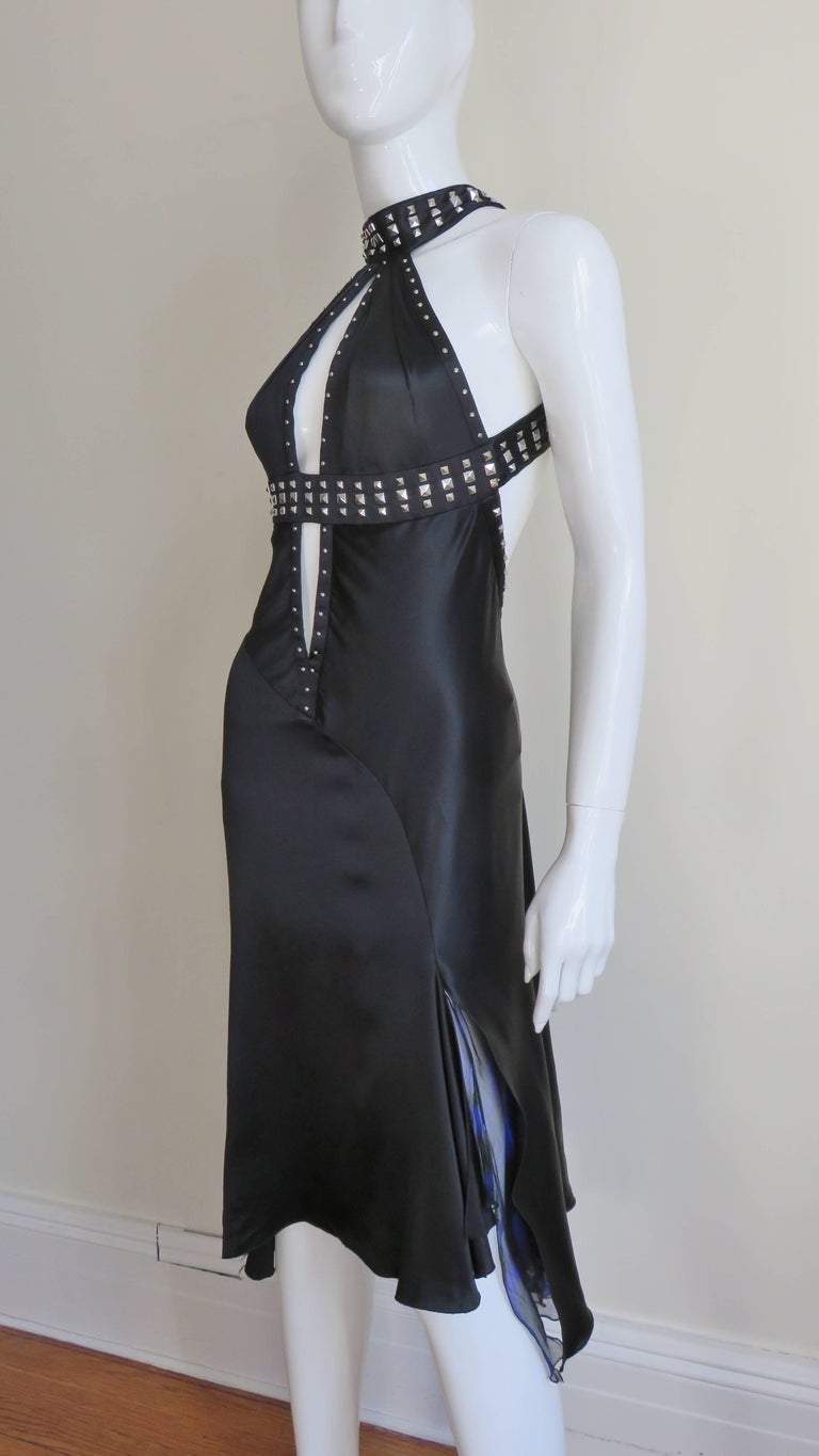 Versace Backless Silk Dress with Studs For Sale 2