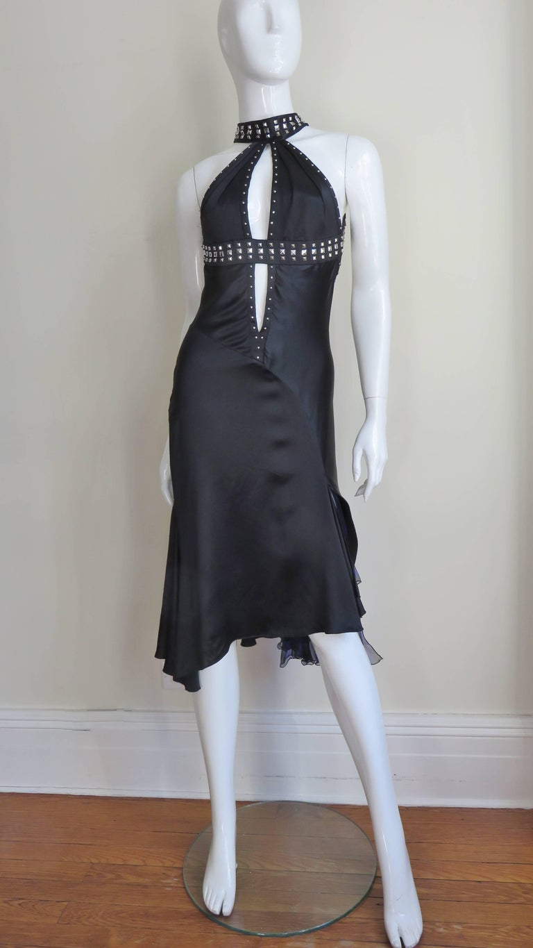 Versace Backless Silk Dress with Studs For Sale 4