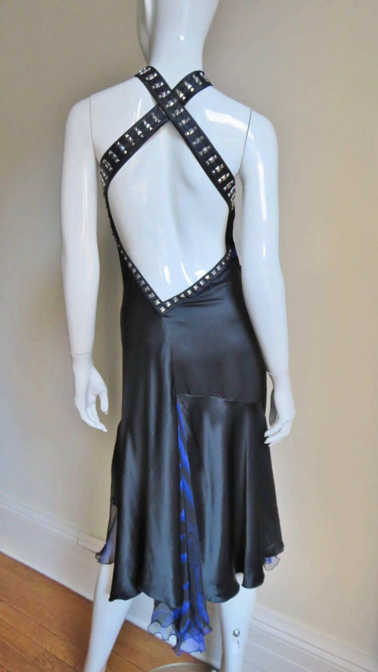 Versace Backless Silk Dress with Studs For Sale 5
