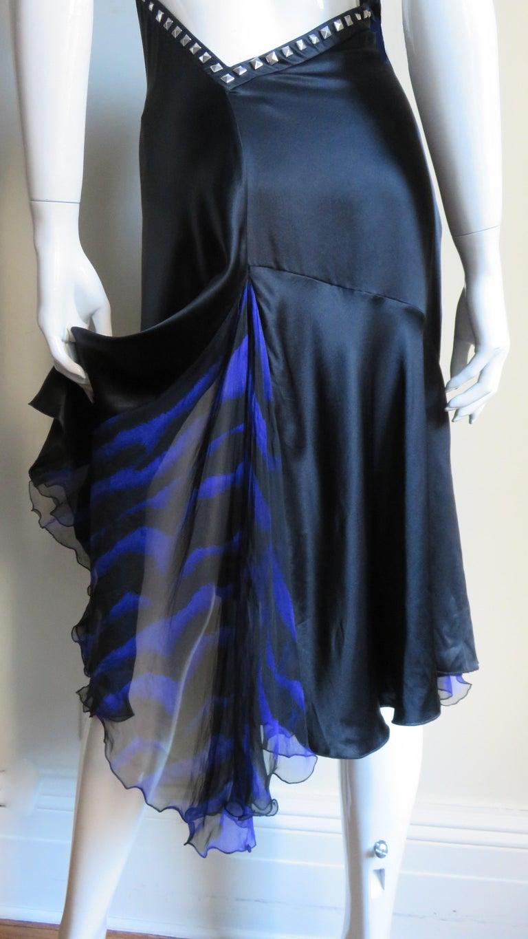 Versace Backless Silk Dress with Studs For Sale 8