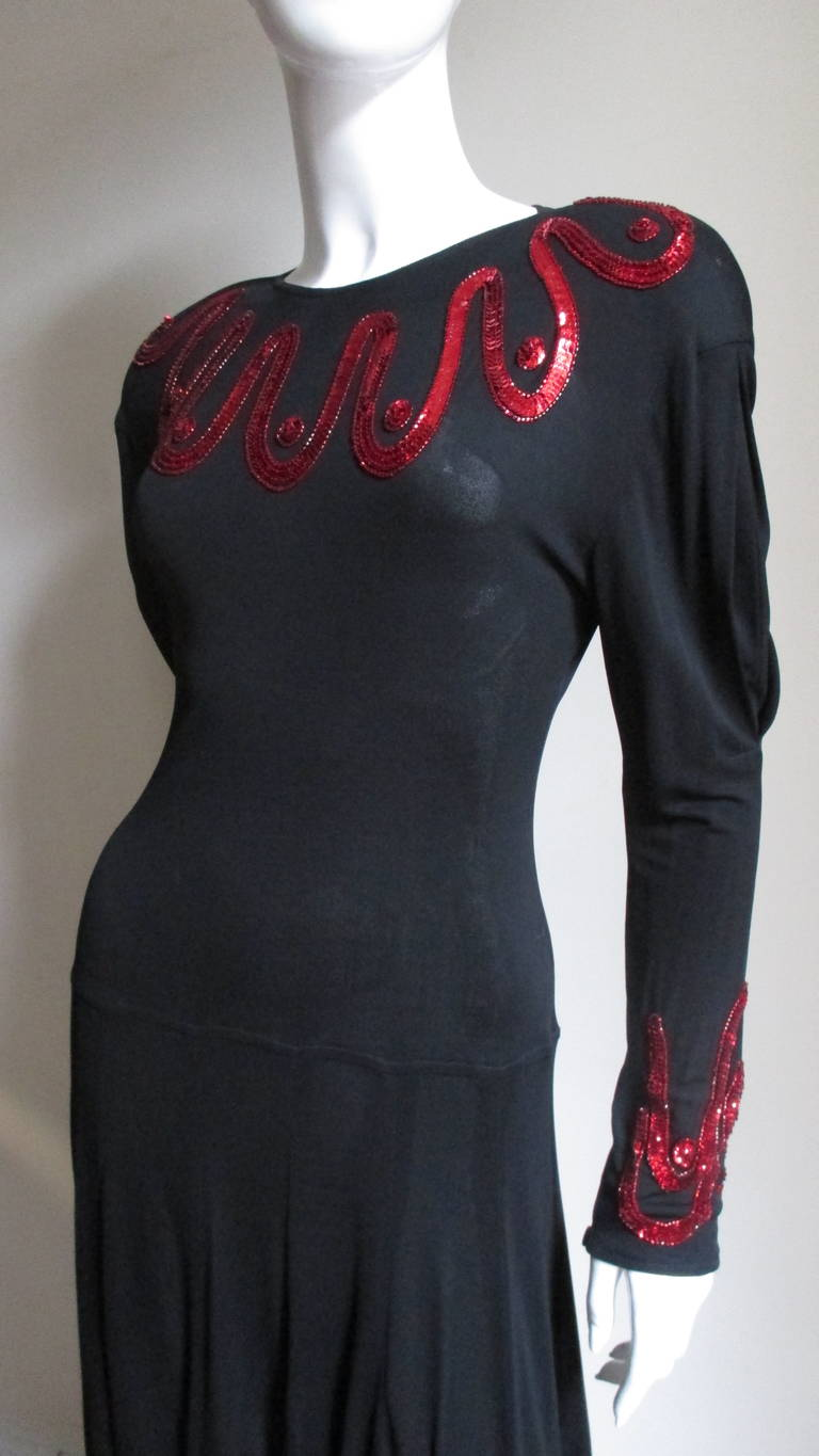 Black Jean Muir Silk Jersey Dress with Sequins 1980s For Sale