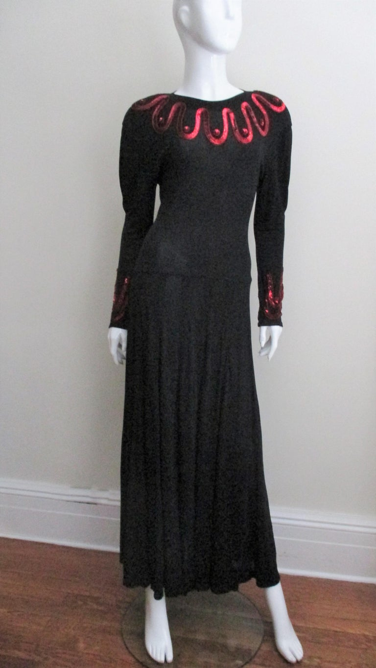 Jean Muir Silk Jersey Dress with Sequins 1980s For Sale 4