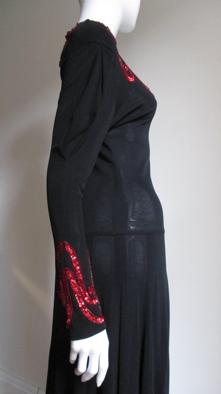 Jean Muir Silk Jersey Dress with Sequins 1980s For Sale 1