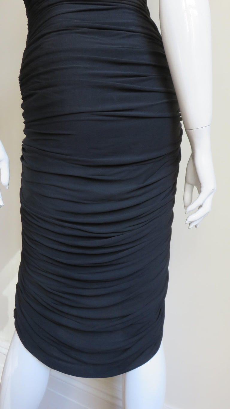 Vicky Tiel 1980s Strapless Ruched Dress For Sale 9